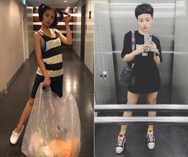 Miu Lê không cầu kỳ ăn mặc khi ở nhà, trái với lúc ra phố cô nàng luôn diện hàng hiệu từ đầu đến chân.