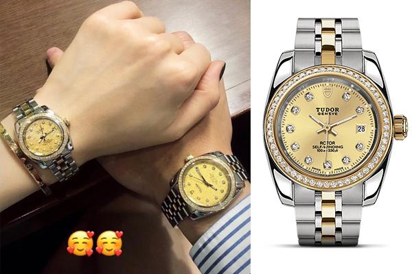 Cặp đồng hồ lọt mắt xanh của Linh Rin - Phillip Nguyễn là dòng Classic Date của thương hiệu Thụy Sỹ Tudor. Chất liệu của đồng hồ là thép không rỉ vớikim cương nhỏ li ti đính viền xung quanh mặt trang trí. Hai chiếc đồng hồ của Linh Rin và Phillip Nguyễn có kích thước mặt 28 mm và 38 mm, giá bán từ 5.500 USD (gần 130 triệu đồng).