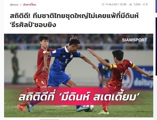 Tờ Siam Sport nói Thái Lan chưa từng thua Việt Nam trên sân Mỹ Đình.