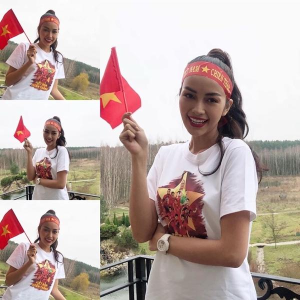 Ngọc Châu cổ vũ tuyển Việt Nam từ Ba Lan.