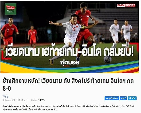 Truyền thông Thái Lan viết về cục diện bảng B sau trận Việt Nam thắng Singapore.