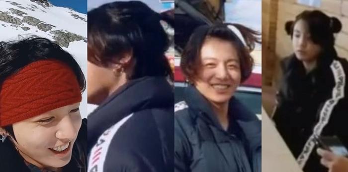 Trong mùa Bon Voyage năm nay, Jung Kook đã thử nghiệm nhiều kiểu tóc: tóc đeo headband, tóc buộc phía sau, tóc quả táo và tóc hai chùm.