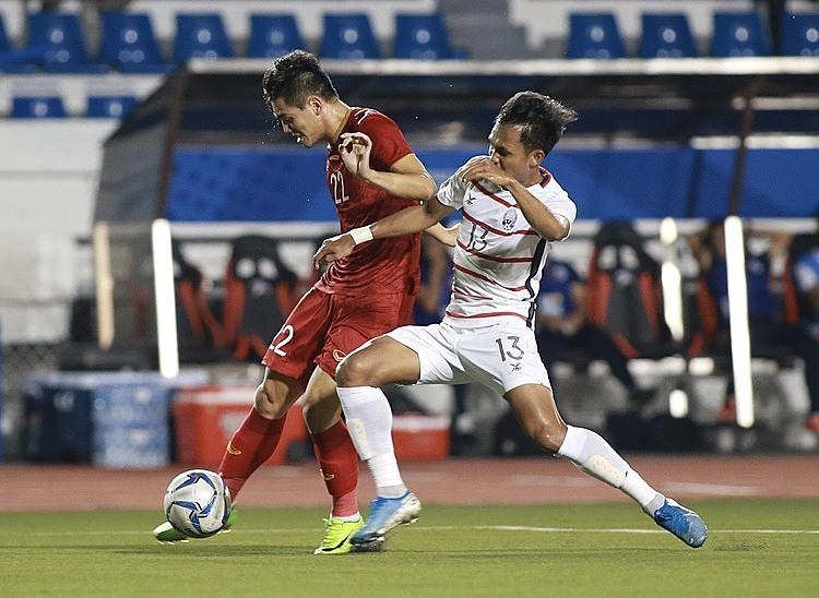 Tiến Linh ghi bàn mở tỷ số cho U22 Việt Nam.