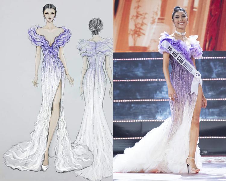 Váy của Thúy Van từ bản vẽ đến thực tế.