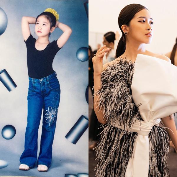 Nữ CEO 24 tuổi Vũ Quỳnh Trang từ lúc còn là một cô nhóc đã thích thời trang, tạo dáng rất chuyên nghiệp khi chụp hình.
