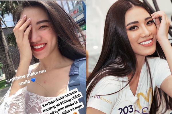 Cũng nhờ có làn da đẹp nên chỉ cần makeup đơn giản, Á hậu đã tự tin chụp hình bằng camera thường không chỉnh sửa. So với lúc tút tát kỹ càng, người đẹp không thay đổi nhiều về nhan sắc.