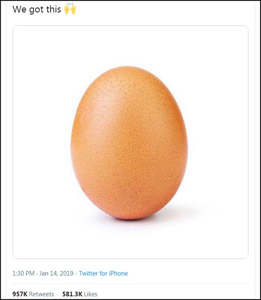 Bức ảnh quả trứng World Record Egg trở thành hiện tượng mạng xã hội hồi tháng 1/2019.