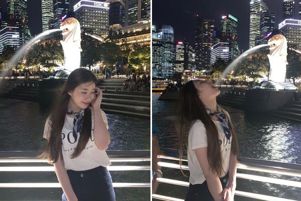 Chae Ryeong (ITZY) khi thẹn thùng khi nhắng nhít pose hình ở Singapore.