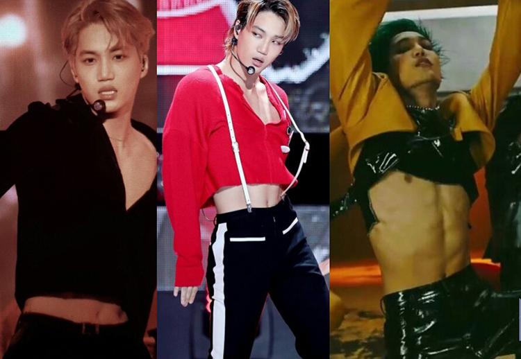 Kai là idol nam thường xuyên diện croptop khi biểu diễn nhất. Từ MV Love shot, Tempo và mới đây nhất là Obsession, Kai đều được stylist cho mặc croptop và nhảy những điệu có độ uốn lượn cao, khoe cơ bụng sáu múi.