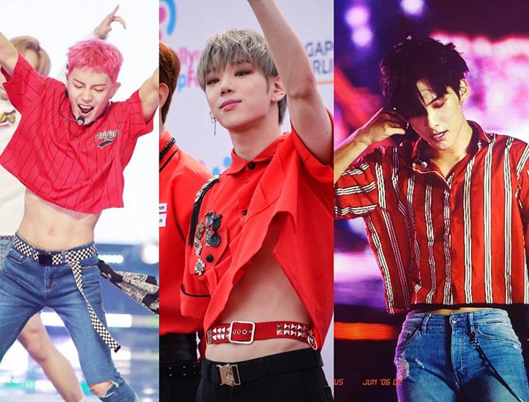 Các thành viên của A.C.E  từng mặc croptop có màu sắc cực kì nữ tính là Dong Jun Hun, Jun Hee và Byeong Kwan (từ trái qua).