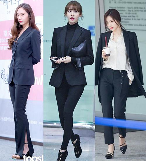 Krystal, Yoona, Naeun đều cực kì sang chảnh với suit màu đen.
