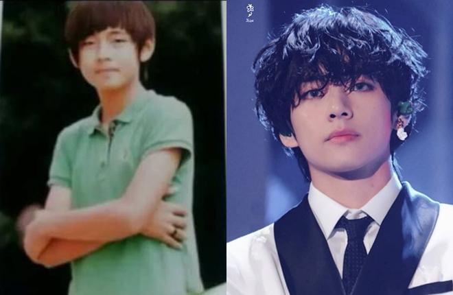 1. V (BTS): 10 năm trước, V vẫn còn là cậu thiếu niên có khuôn mặt non nớt ngây ngô. Sau một thập kỷ, anh chàng đã trở thành chàng trai trong mộng của nhiều cô gái với ngoại hình cực phẩm, nét quyến rũ đặc trưng.