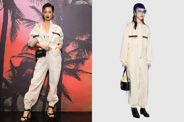 Khánh Linh có cách mix-match ấn tượng hơn người mẫu của hãng khi diện cùng một bộ đồ.