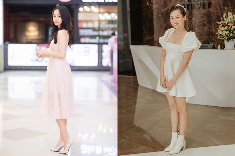 Công thức ăn mặc quen thuộc của nàng thơ Mắt biếc là váy ngắn tông trắng và giày cao gót, giúp ăn gian chiều cao hiệu quả.