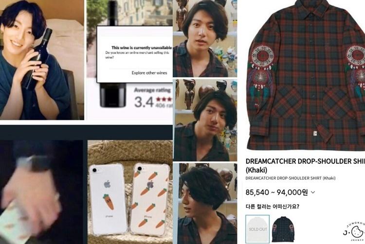 Jung Kook từng giúp sold out các sản phẩm thời trang như BT21×Uniqlo, áo Dreamcatcher Drop Shoulder (của A Nothing)... Chỉ cần Jung Kook sử dụng một sản phẩm bất kỳ, fan đều háo hức săn tìm cho bằng được. Bằng chứng là ốp điện thoại, rượu, sản phẩm dưỡng da, thậm chí là sách hay nước xả vải, tất cả đều cháy hàng nhờ hiệu ứng của Jung Kook.