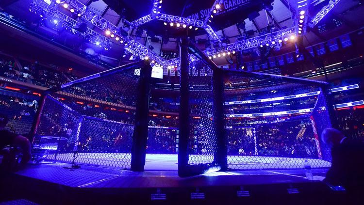 Võ đài kín khán giả của trận đấu MMA.