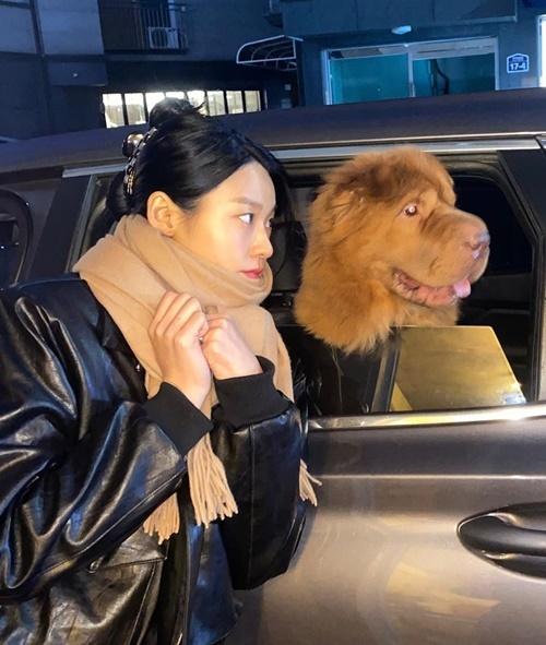 Seol Hyun tạo dáng hài hước cùng cún cưng.