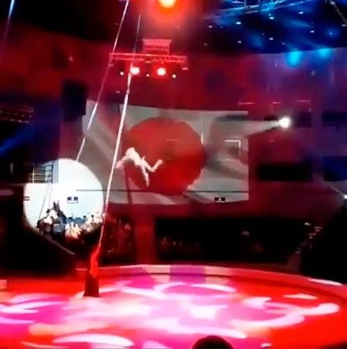 Yelena ngã xuống khi đang biểu diễn được một khán giả ghi lại. Ảnh: @dpskontrol25.rus.