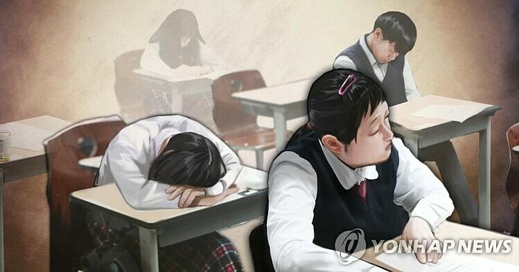 Học sinh Hàn Quốccăng thẳng thiếu ngủ. Ảnh: Yonhap News.