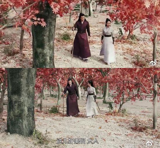 Rừng phong trong phim được làm từ kỹ xảo. Khán giả trêu Đàm Tùng Vận diễn sâu khi nghe cô nàng ca ngợi Cảnh nơi đây đẹp quá.