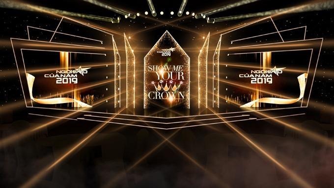 Sân khấu của Gala Ngôi sao của năm 2019 với tông màu đen và vàng gold mang vẻ bóng bẩy và sang trọng.