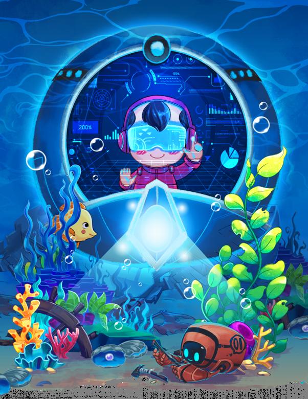 Hình vẽ về Yết Kiêu được làm mới với phiên bản nhà thám hiểm đại dương, chế tạo Robot lặn dưới đại dương giúp con người khai phá bí mật địa chất học.