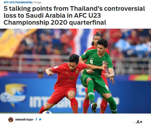 Fox Sports viết về trận thua của Thái Lan trước Arabia Saudi.