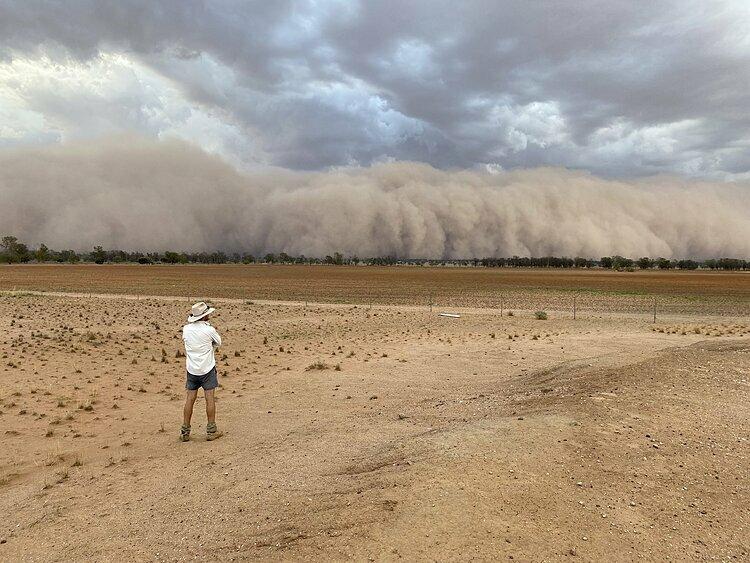 Bão bụi khổng lồ ở Australia. Ảnh: Guardian.