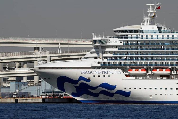 Du thuyền Diamond Princess đang cách ly tại  cảng Yokohama.