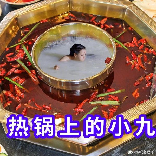 Netizen Trung Quốc cũng chế ảnh Tiểu Cửu trong nồi lẩu cay.