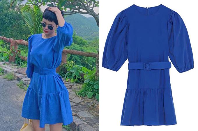 Váy Zara với kiểu dáng thời thượng cũng được giọng ca sinh năm 1997 yêu thích. Cô sở hữu một chiếc váy xanh coban có giá sale là hơn 500k.