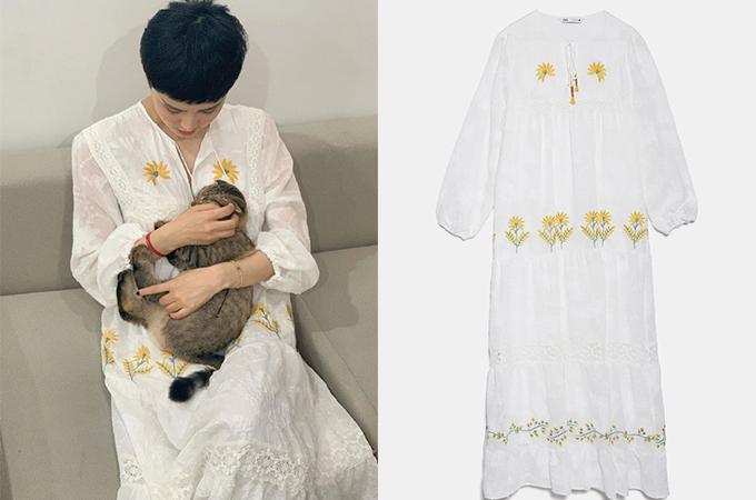 Với 2,3 triệu đồng, các cô gái có thể sở hữu chiếc đầm maxi thêu hoa dịu dàng như Hiền Hồ đang mặc.