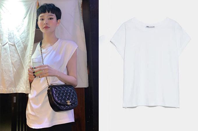 Chiếc áo thun trắng tay xếp cũng là một sản phẩm của thương hiệu bình dân được Hiền Hồ rước về tủ.