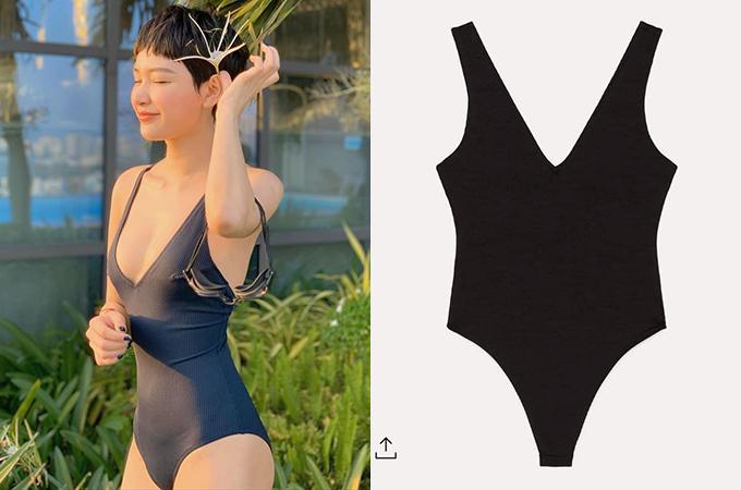 Nhiều cô gái lùng mua bộ bodysuit giá 500k sau khi Hiền Hồ mặc trong một bộ hình ở bể bơi, tôn lên thân hình gợi cảm.