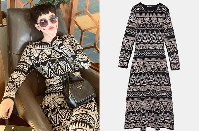 Váy thêu thuộc bộ sưu tập giới hạn giá 2,7 triệu đồng là món đồ Zara đắt hơn cả được Hiền Hồ tậu về gần đây.