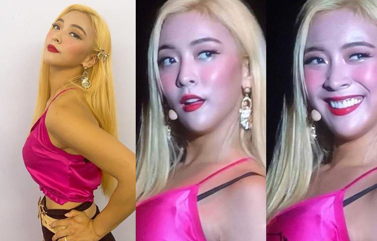 Cựu thành viên F(x) Luna cũng từng bị lộ chiêu trang điểm tương tự. Trong điều kiện ánh sáng hoàn hảo, cô có lớp trang điểm đẹp với làn da khá đều màu. Thực tế gương mặt của mỹ nhân được tô vẽ rất đậm đà, phần da mặt và cổ khác biệt hoàn toàn, má hồng nhấnrất đậm.