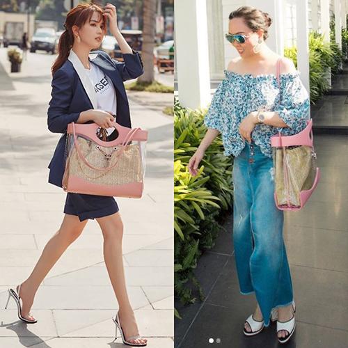 Không chỉ đụng độ trang phục, đôi bạn còn dùng chung cả phụ kiện, ví dụ như chiếc túi xách siêu to khổng lồ màu hồng, giá gần 100 triệu đồng của Chanel.