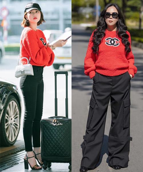 Là cặp chị em thân thiết của Vbiz, Ngọc Trinh - Phượng Chanel chẳng hiếm phen mặc chung đồ. Cả hai cũng từng đụng độ mẫu áo len đỏ giá đến 50 triệu đồng. Đối lập với đàn em diện cùng quần skinny, Phượng Chanel mix quần cargo ống rộng.