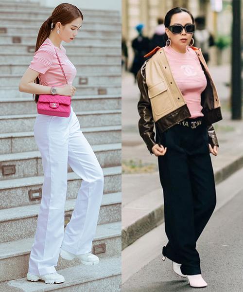Thiết kế Chanel màu hồng ôm sát giúp Ngọc Trinh khoe vóc dáng đẹp. Trong màn đụng độ này cùng Phượng Chanel, nữ hoàng nội y ăn đứt vì phối đơn giản hai màu trắng - hồng, trong khi đó bạn gái Quách Ngọc Ngoan lại mặc rườm rà dìm dáng.
