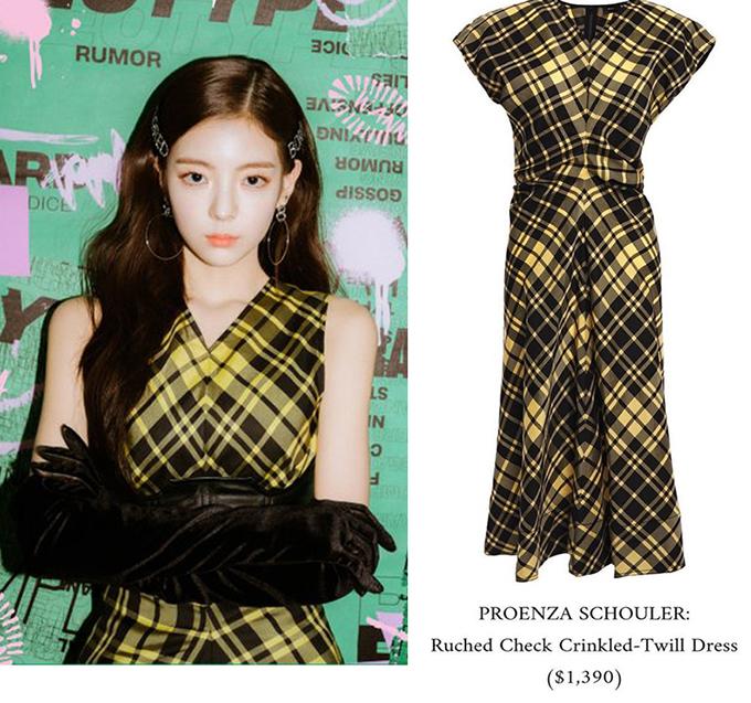 Trở lại với sân khấu âm nhạc, Lia được ưu ái diện toàn đồ hiệu trong MV Wannabe. Mẫu váy họa tiết caro đơn giản nhưng có giá 1,390 USD (hơn 32 triệu đồng).