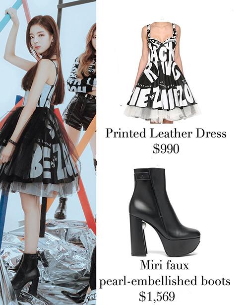 Mẫu váy da in chữ nổi bật mix khéo léo với boots cao gót hầm hố giúp Lia vừa khoe vẻ tươi trẻ, năng động vừa ngầu. Outfit có giá hơn 59 triệu đồng.