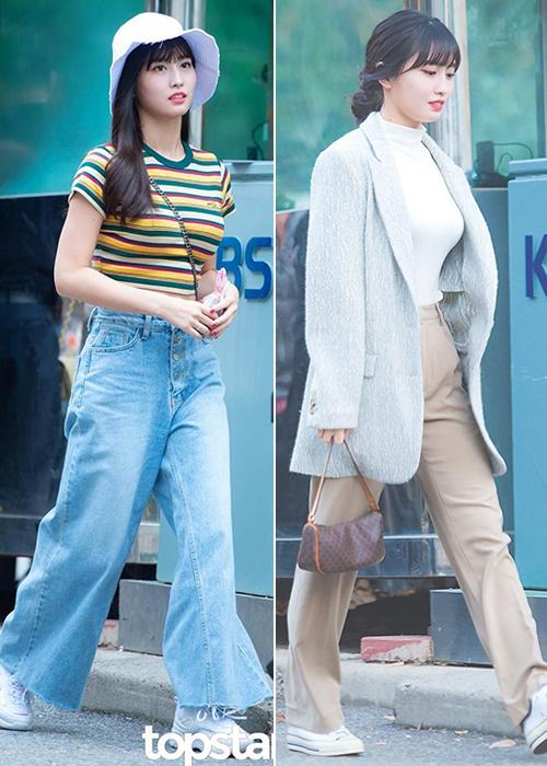 Nữ idol cũng là fan cứng của dáng quần ống thụng, đi kèm giày thể thao cá tính.