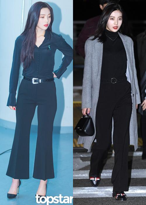 Khi dự sự kiện, Joy ứng dụng phong cách cổ điển theo cách cổ điển hơn như quần ống loe, áo cổ lọ... khoe thân hình chuẩn mực.