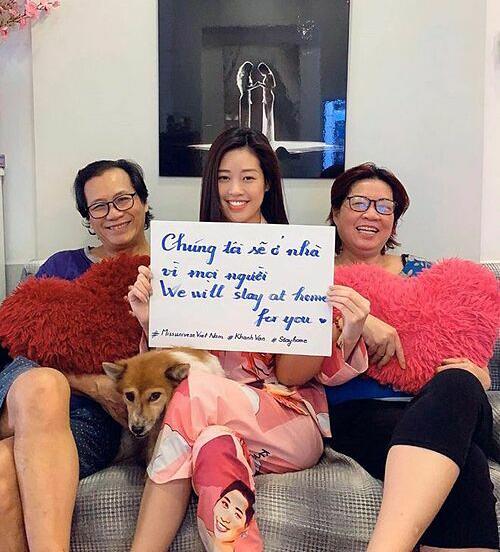 Hoa hậu Khánh Vân kêu gọi mọi người ở nhà trong mùa dịch.