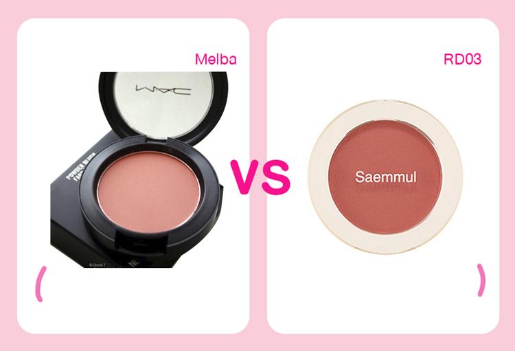 Má hồng màu cam của Mac và của Saemmul cho hiệu quả căng mịn, khỏe khoắn khá tương đương. Giá hai sản phẩm lần lượt là 1,3 triệu đồng và 280k.