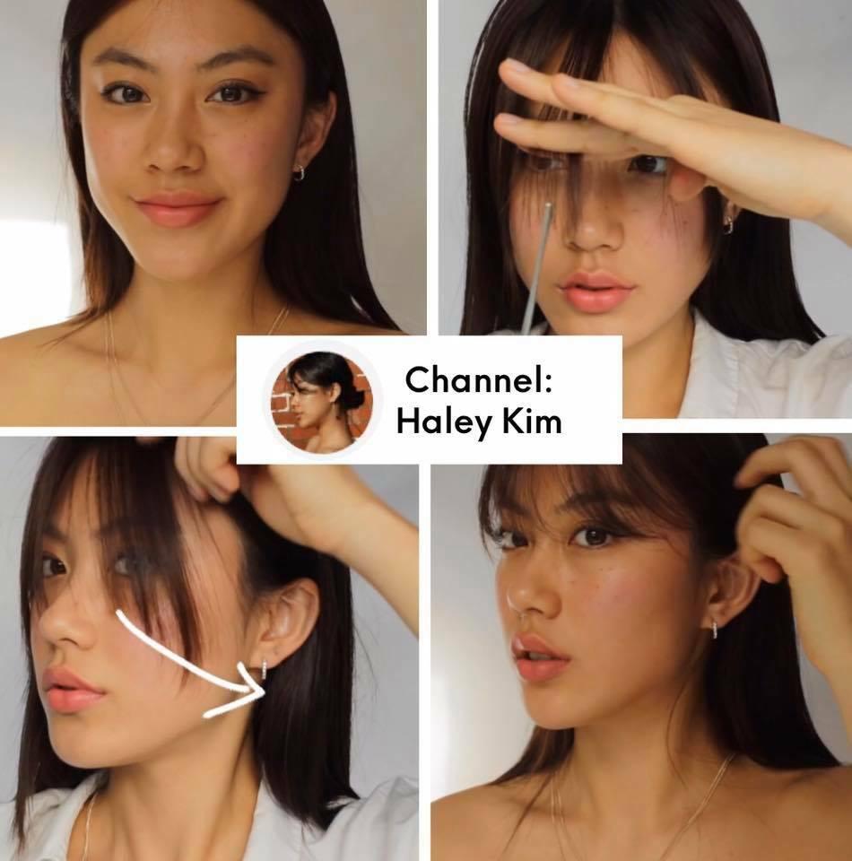 Haley Kim hướng dẫn tỉa mái siêu mỏng, lưa thưa chạm đến ngang mắt với độ cong nhẹ tự nhiên. Trong mùa dịch rảnh rỗi, nếu tự luyện tập ở nhà bạn cũng sẽ có khả năng tự cắt tóc mái chuyên nghiệp không kém nàng vlogger đình đám Hàn Quốc.