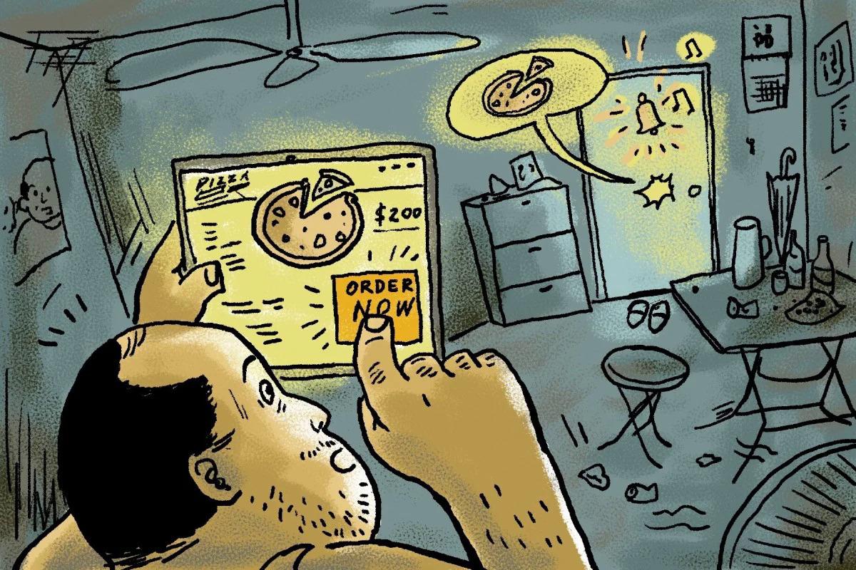 Hình minh họa về cuộc sống của người dân thời dịch. Ảnh: SCMP.