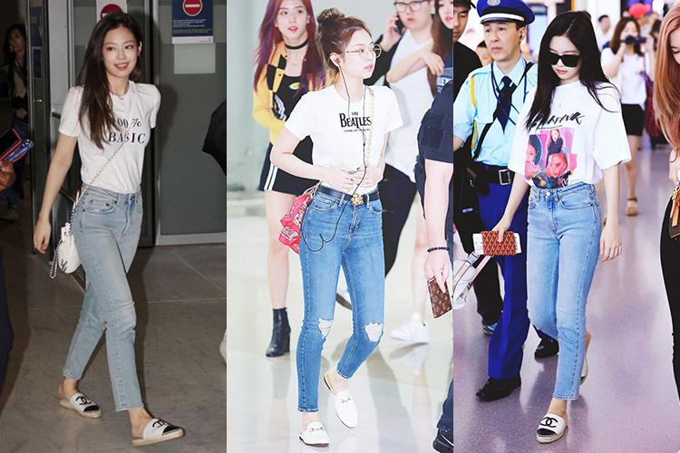 Dù mặc những set đồ không thể đơn giản hơn như T-shirt mix với jeans ống đứng và giày bệt, Jennie vẫn toát lên phong thái của một rich kid.