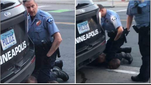 Ảnh cắt từ clip cho thấy Floyd bị cảnh sát kẹp cổ.