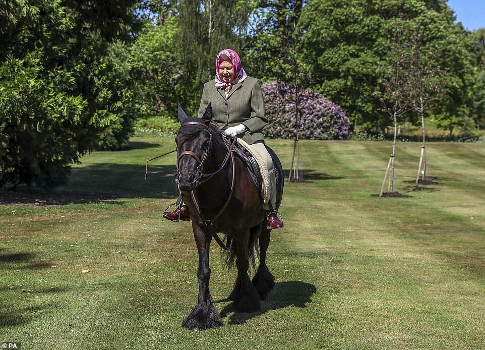 Nữ hoàng cưỡi ngựa trong khuôn viên lâu đài Windsor.